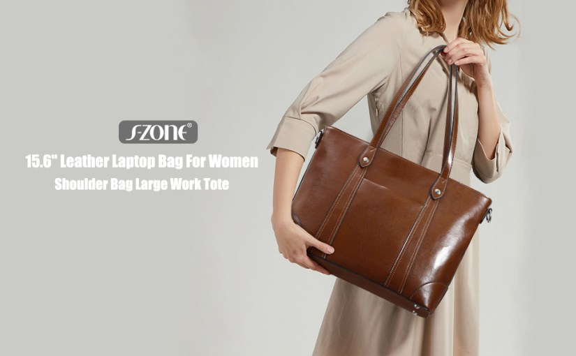 "S-ZONE 15.6"" Leather Laptop Bag for Women Shoulder Bag Large Work Tote with Padded Compartment"