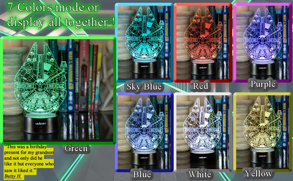3d Lamp 7 color modes millennium falcon star wars night lamp