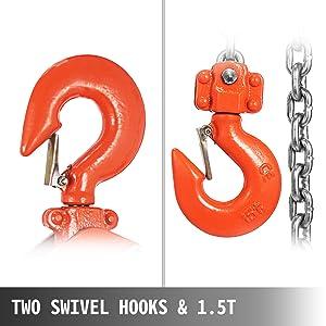 Two Swivel Hooks & 1.5T
