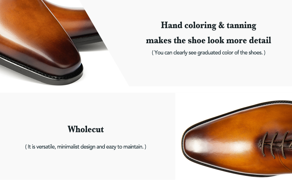 wholecut Handmade coloring tanning dress shoes