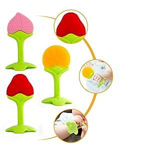 jouets de dentition en silicone pour bébé avec des couleurs vives et multiples texturés pour mâcher