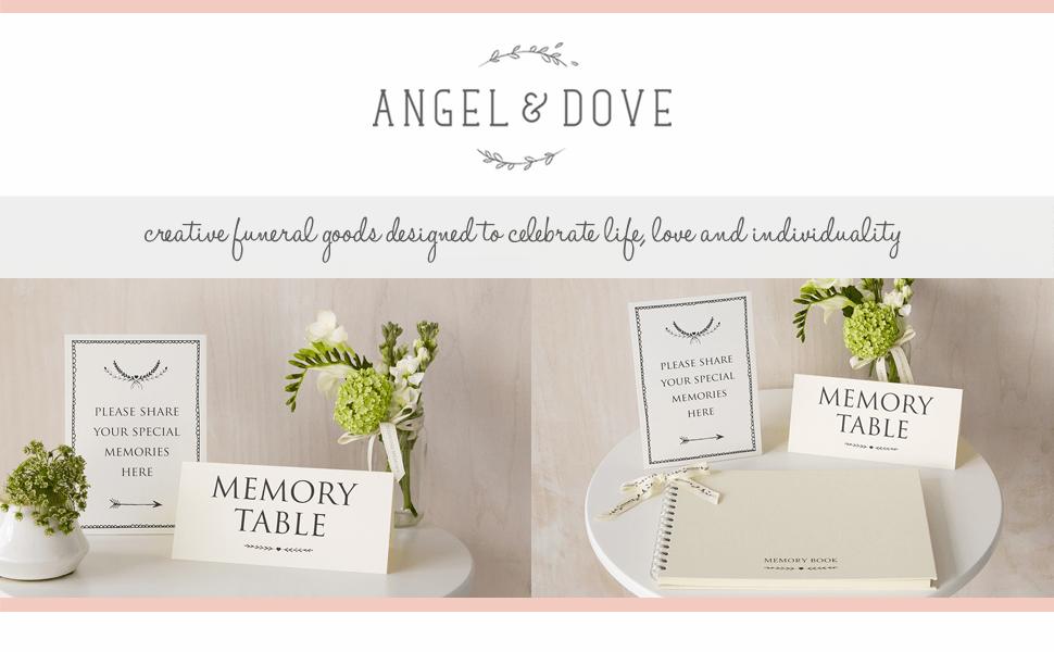 condolence book, memory book, book of condolence, funeral guest book, memorial book, angel & dove