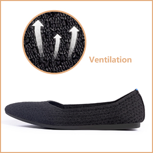 Womens Ballet Flats-Knit Texture Pointed Toe Slip-On Black Leopard Mesh Classic Casual Flat Shoes