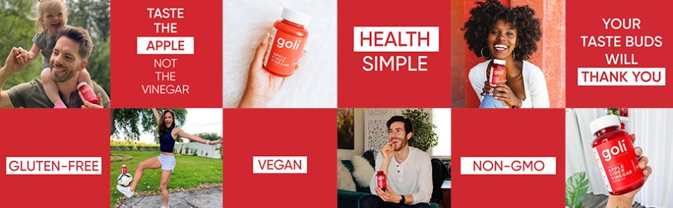 Photo montage - Goli Nutrition bottle images and words