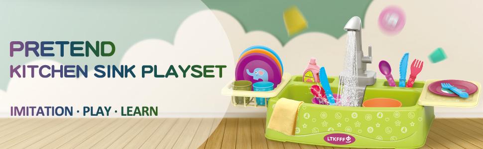 pretend kitchen sink playset toy dishwasher for kids ages 2-4 3-5