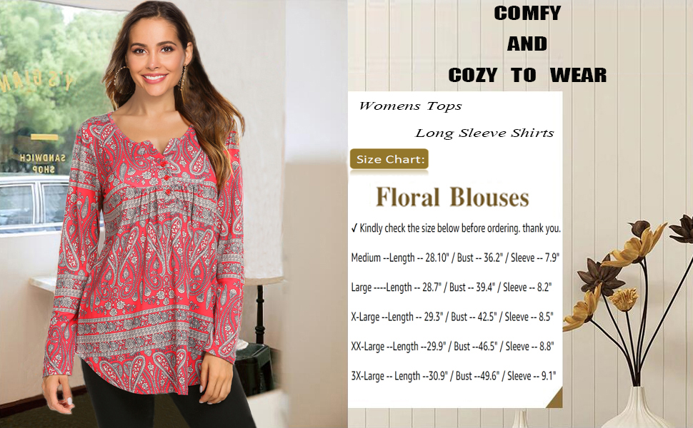 Women's Plus Size Henley Shirts Casual Long Sleeve V-Neck Pleated Tunic Tops