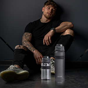 sports water bottle with straw lid