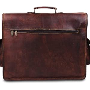 Leather satchel with handle for every day use and big capacity with overnight use