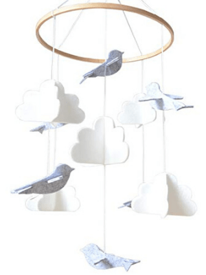 baby crib mobile cute minimalist 3D hang decor babies decoration boys girls design birds clouds