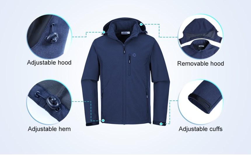removable hood, adjustable hood,hem and cuffs