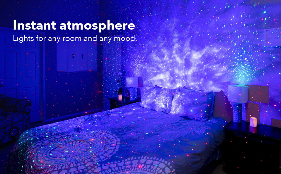 BlissLights Sky Lite - LED Star Projector Nebula Cloud for Room Decor, Home  Theatre, or Night Light Mood Ambiance - Classic (Green/Blue): Amazon.co.uk:  Lighting