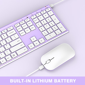 full size ultra slim rechargeable wireless keyboard mouse white purple 12303 (4)