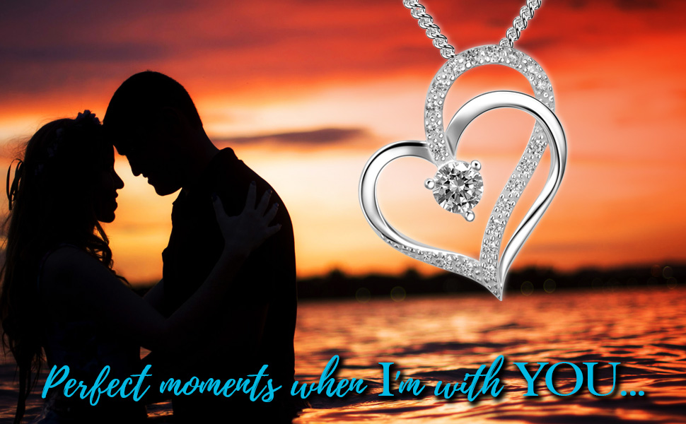 Double heart love necklace for couple girlfriend wife mom as romantic jewelry gift