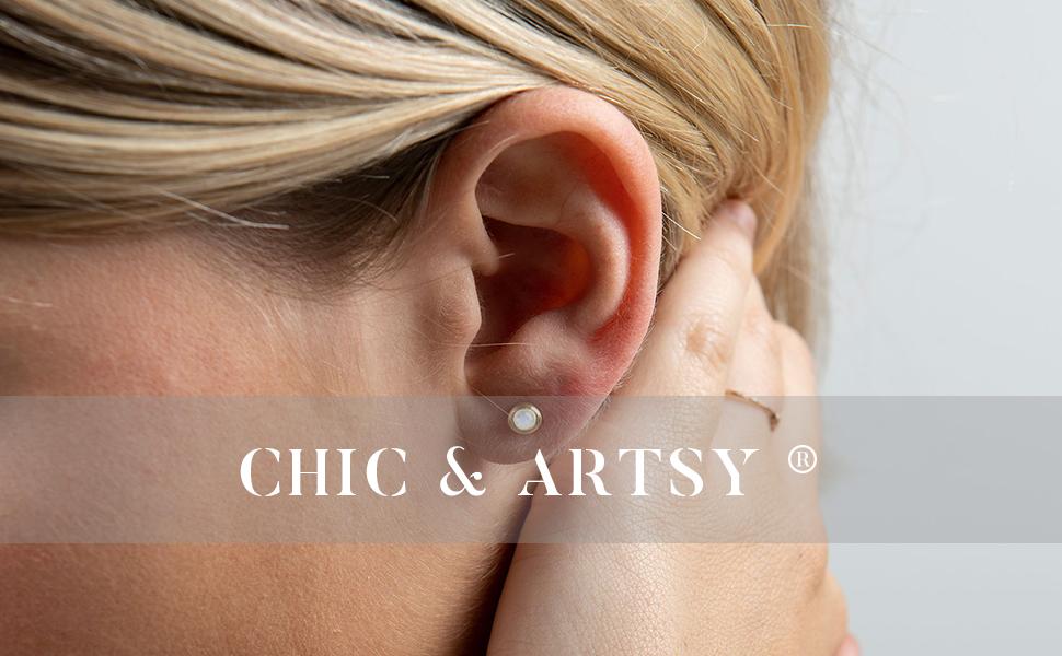 Huggie Hoop Earring 925 Sterling Silver Black CZ Huggie Earrings for Women Half Hoop Earrings