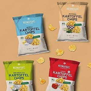 Kartoffelchips, Heimatgut, Meersalz, Paprika, Mediterran, Sour Cream Style, Bio, Vegan