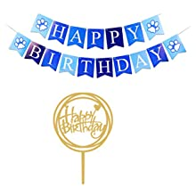 birthday banner and cake topper