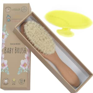 baby brush solid beech wood 100% natural goat hair