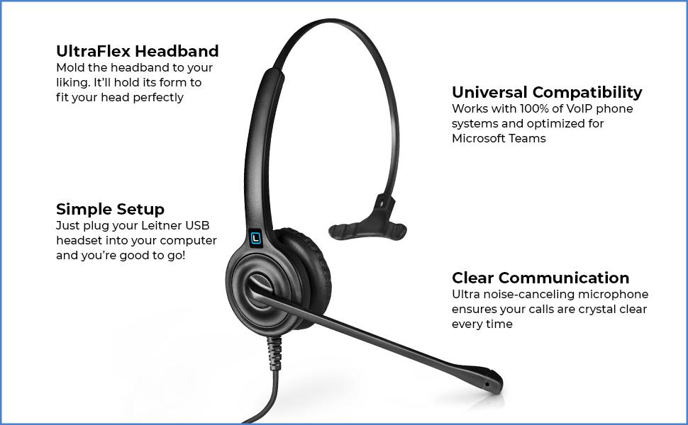 usb headset, leitner headset, voip headset