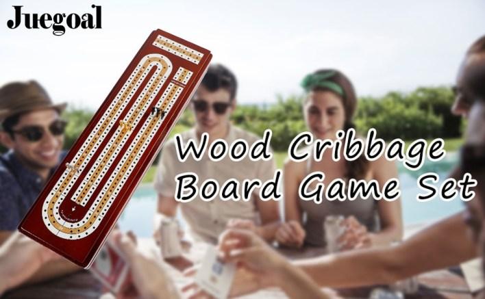 JUEGOAL WOOD CRIBBAGE BOARD GAME SET