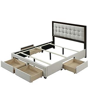 Soloman Upholstered Panel Bed Frame Storage Drawers Wood Trim Headboard King Beige Linen Craftsman