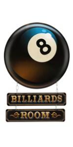 billiards room 8 ball metal sign