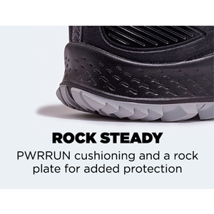 pwrrun cushioning and rock plate protection