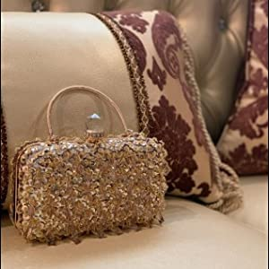 UBORSE Women Wedding Clutch Rhinestone Bling Sequin Evening Bags Vintage Crystal Beaded