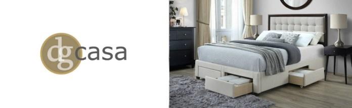 Soloman Tufted Upholstered Panel Bed Frame Storage Drawer Wood Headboard Queen Beige Linen