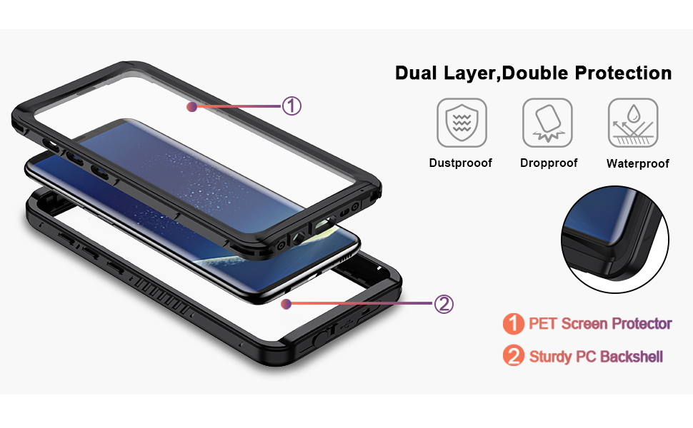 s8 plus case with screen protector