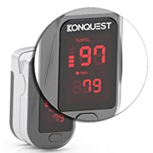 hand with fingertip pulse oximeter