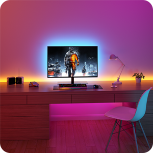 tv led backlight kit with multiple colors red green blue pink purple yellow 6.56ft 6.6ft indoor