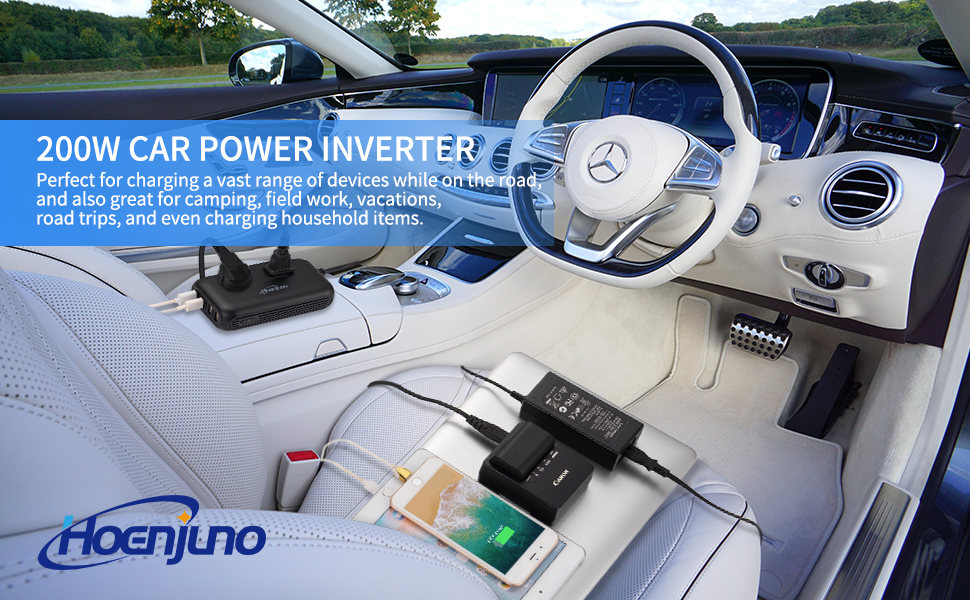 Hoenjuno 200W Car Power Inverter