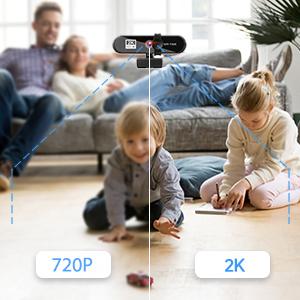 2K Full HD Autofokus Webcam USB Webcam mit Privatsphäre Abdeckung für Sicherheit
