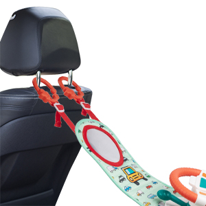 Baby Car Seat Toys with Mirror, Steering Wheel Carseat Toys for Infants with Music Lights