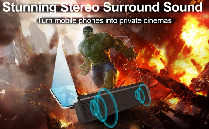 3D Phone Screen Magnifier with Bluetooth Speakers