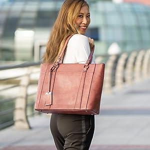 waterproof laptop bag women office tote leather purse purple relic rofozzi