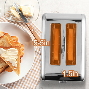 Toaster 2 Slice Extra Wide Slot Toasters 3 Functions LED Display Bread Toaster