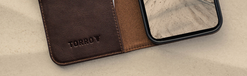 TORRO Dark Brown Leather Stand Case for Apple iPhone 12 Pro Max