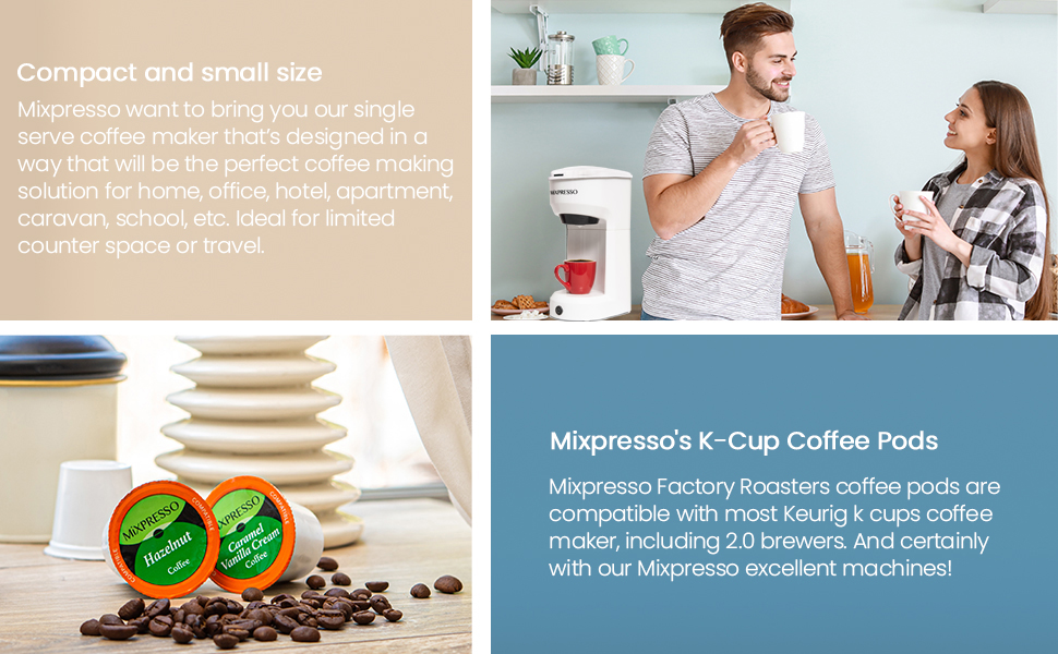 Compact coffee macine and pods