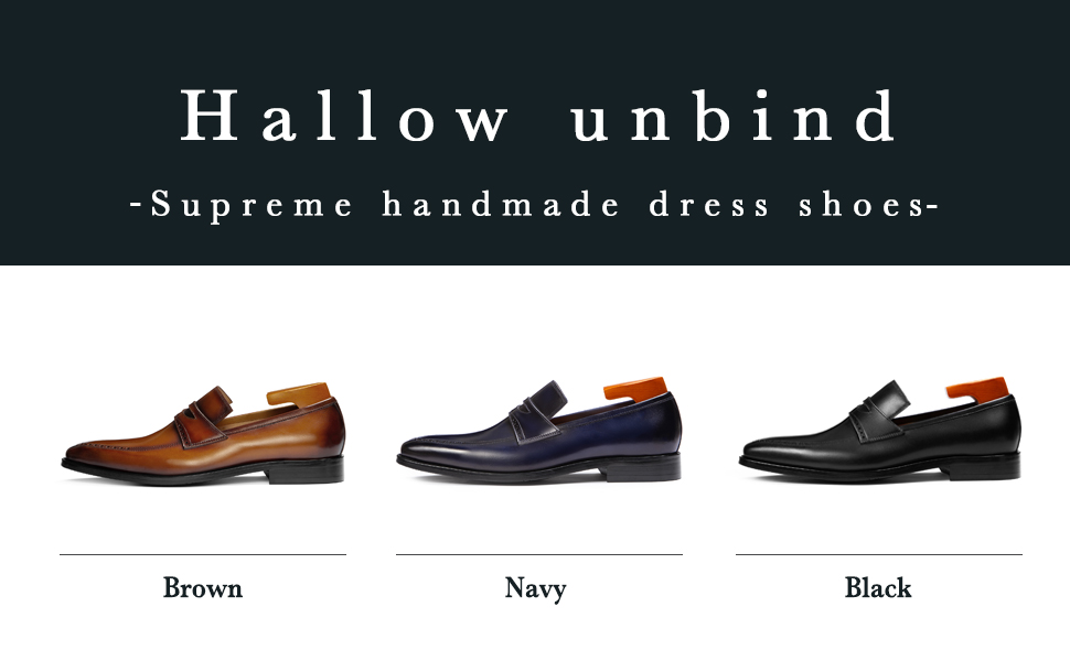 Hallow unbind Men's Handmade Dress Shoes Brown Full Grain Leather Brogue Penny Loafer Slip On