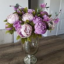 purple peony flowers in vase