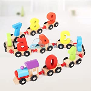 number counting toys, pattern learning toys, wooden number blocks, learning toy train set