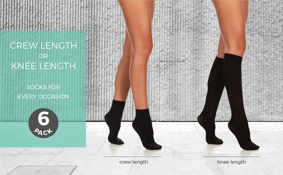 daresay crew length and knee length socks for women 6 pack