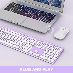 full size ultra slim rechargeable wireless keyboard mouse white purple 12303 (5)