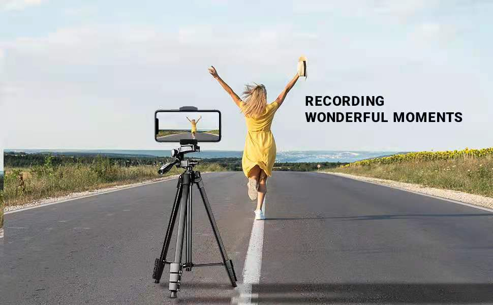 Recording every moments of your life with 53 Inch black tripod