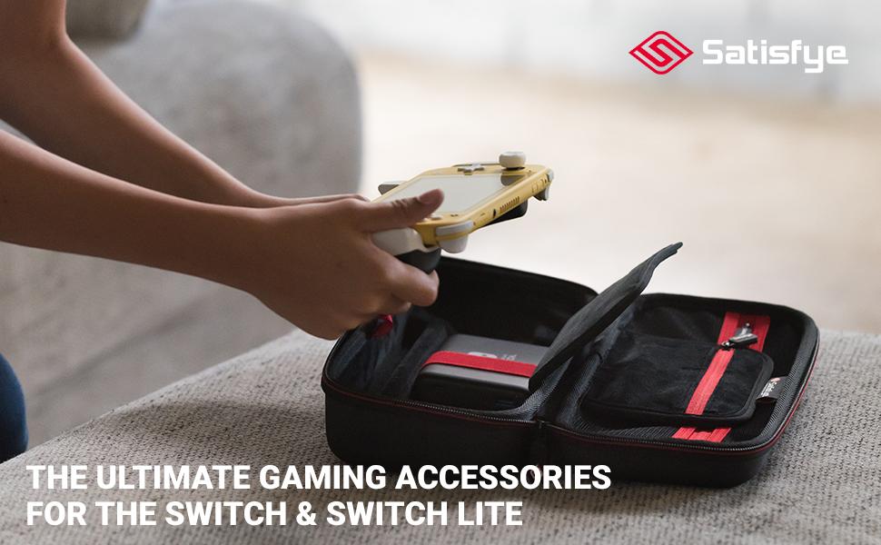 SwitchGrip Lite Switch Lite Accessory Grip Lifestyle. Ergonomic Design With Rubberized Grip. Elite