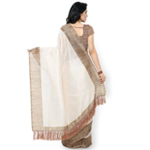 Rajnandini Women's Tussar Silk Plain Saree