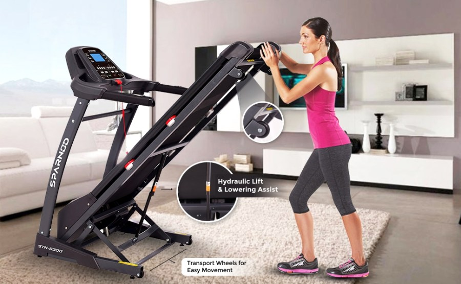 Sparnod Fitness STH-5300 Automatic Foldable Motorized Treadmill Home Use Auto Incline