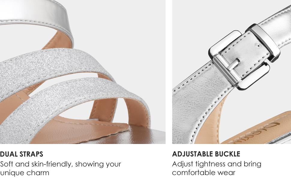 DREAM PAIRS Women's Stiletto Wedding Heels Glitter Dress Pumps Heeled Sandals