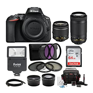 Nikon D5600 DSLR Camera, Two Lenses, Digital Slave Flash, 64GB SD Card, Accessories